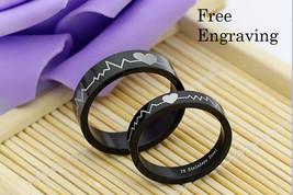 Free engraving 2 pcs heartbeat stainless steel couples ring set, engagem... - $1.145,13 MXN