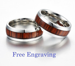 Free engraving wood inlay couples ring, tungsten bands, tungsten rings - $2.385,69 MXN