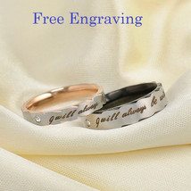 Free engraving zig zag style titanium steel 2 pcs couples ring set, wedd... - $763,42 MXN