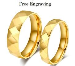 Free engraving 2 pcs facet shape 18k gold couples ring set, engagement r... - $801,59 MXN
