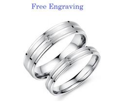 Free engraving 2 pcs titanium steel couples ring set, engagement rings, ... - $763,42 MXN