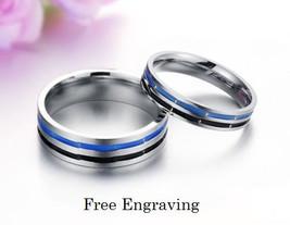 Free engraving 2 pcs blue and black titanium steel couple ring set, prom... - $801,59 MXN