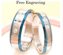 Free engraving blue forever love stainless steel couples ring set, promi... - $801,59 MXN