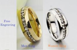 Custom engraving Rhinestone stainless steel 2 pcs couples ring set, enga... - $725,25 MXN