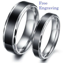 Free engraving 2 pcs black & silver stainless steel couples ring set, pr... - $763,42 MXN