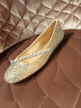 Swarovski Crystal Ballet Flats Sparkly Wedding Shoes Handmade Bridal Shoes Prom - $125.00