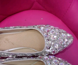 Bridal Ballet Flats Clean Swarovski Crystal Luxury Sparkly Prom Shoe Wom... - $125.00