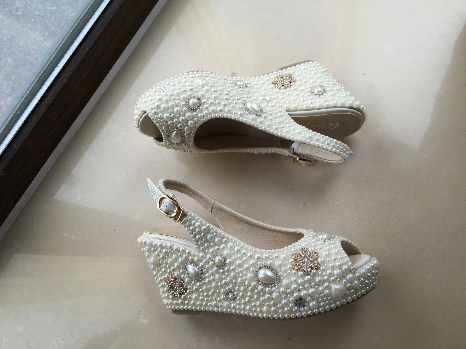 bridal woman sandlas ivory pearls gold rhinestone flowers wedding wedge shoes image 3
