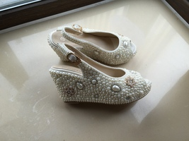 bridal woman sandlas ivory pearls gold rhinestone flowers wedding wedge ... - $135.00