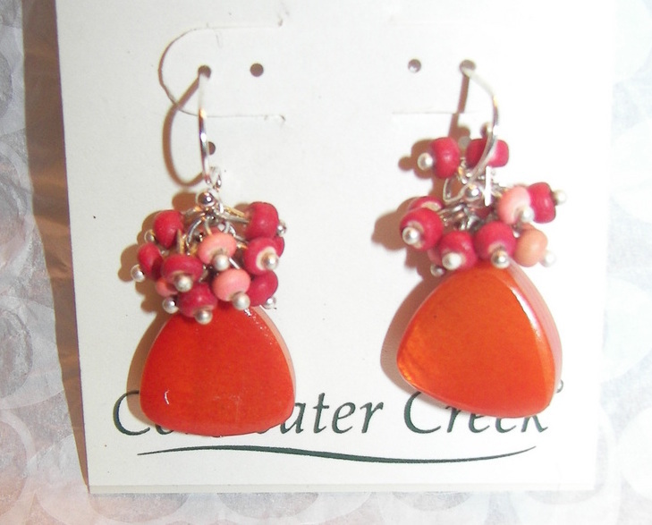 Coldwater Creek Fanasy Shell Silver Dangle Orange cluster