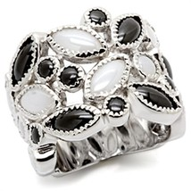 Sterling Silver Black & White Milky Cz Wide Band Statement Ring Size 8 - $42.49