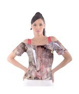 Psychedelic Cutout Shoulder Tee by VOYAGEART - $26.00