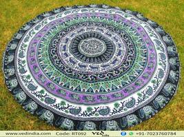 Elephant Round Tapestry Mandala Roundie Beach Towel - $25.00