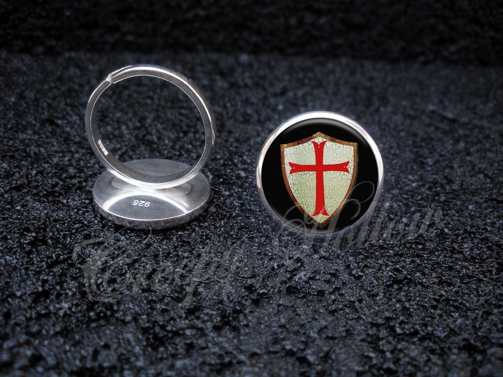 Primary image for 925 Sterling Silver Adjustable Ring Knights Templar Shield with Red Cross