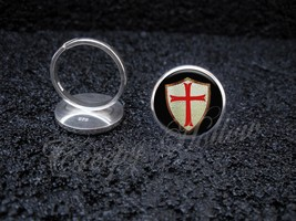 925 Sterling Silver Adjustable Ring Knights Templar Shield with Red Cross - $34.65