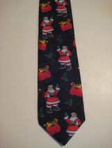 "Original Vintage Blue Red SANTA MISTLETOE 3.75"" Tie Necktie Hallmark Holiday 257 - $16.37"