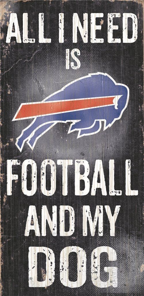 "BUFFALO BILLS FOOTBALL and my DOG WOOD SIGN & ROPE 12"" X 6""  NFL MAN CAVE!"