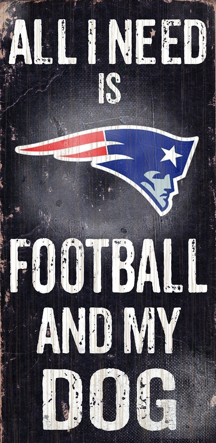 "NEW ENGLAND PATRIOTS FOOTBALL & my DOG WOOD SIGN & ROPE 12"" X 6""  NFL MAN CAVE!"