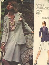 1973 Vogue 2825 Anne Klein Misses' Jacket, Skirt, Shirt and  Scarf SZ 16 Uncut - $3.00
