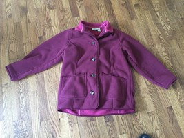 LL BEAN Womens Plum Purple Fleece Button Up Jacket Coat Size Petite Small - $37.39