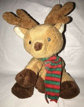 "2009 Ty Pluffies Snuggery Reindeer Brown Plush Red Green Scarf 8.5"" - $14.84"