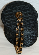 Vintage Black Quilted Cosmetics Case Evening Bag - $6.00
