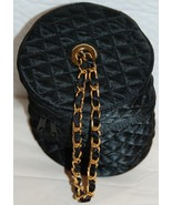Vintage Black Quilted Cosmetics Case Evening Bag - $8.00