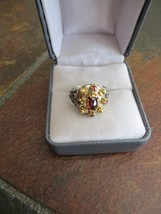 ANTIQUE GOLD plated 835 SILVER ROSE CUT BOHEMIAN GARNET 6-6.25 size  RING - $219.99