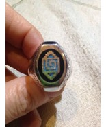 1980's Vintage Large Stainless Steel Size 7.5 Men's Turquoise Inlay Ring - $32.73