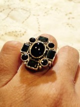 Antique Dark Green Genuine Tourmaline Vintage Stone 925 Sterling Silver ... - $89.76