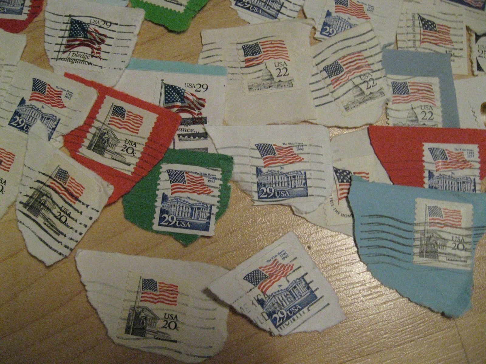 USA Flags Postage Stamps - Vintage 1980's American Postal USPS Stamps Set (100)