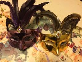 Metallic Feather Costume MASQUERADE EYE MASK mardi gras venetian Gold or... - €7,70 EUR