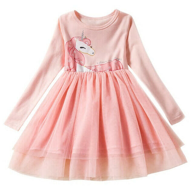 Primary image for NEW Girls Unicorn Pink Long Sleeve Tutu Dress 3T 4T 5T 6 7