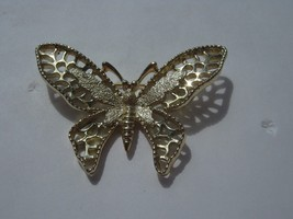 SARAH COVENTRY GOLD COLOR BUTTERFLY BROOCH - $14.84