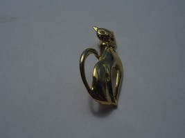 GOLD COLOR CAT BROOCH HAS COLLAR AND EYES OF CLEAR RHINESTONES - $4.94