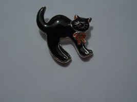 BLACK CAT WITH ORANGE  BOW PIN MARKED LOOKS LIKE SEJ AND 48368 - $9.89