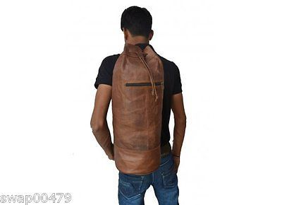 men vintage backpack ergo coach shoulder hiking satchel real goat leather  bag