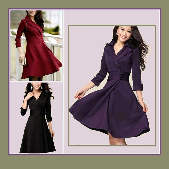 Primary image for Retro 70's Big Lapel Collar Three Quarter Cuff Sleeve Empire Waist Office Dress