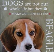 DOG LOVER PLAQUE Beagle Dogs Make Our Life Better 8x8 Wood Pet Wall Art image 2
