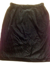 Ms Size 12 CHAUS Lined VELVET Look Dressy Black SKIRT EUC Free US Ship - $14.43