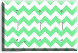 Chevron Lite Green Stripes Pastel Triple Light Switch Wall Plate Cover Art Decor - $14.57