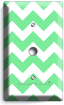Chevron Lite Green Stripes Pastel Light Dimmer Video Cable Wall Plate Art Cover - $9.89