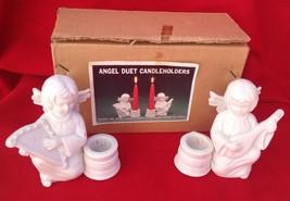 """VINTAGE ANGEL DUET PR 2 CANDLE HOLDERS """"Christm... - $9.65"""