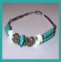 Vintage Natural Turquoise Gemstone White Sea Shell Silver Beads Bracelet - $19.99