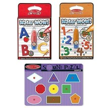 Melissa & Doug Learning Pack Shape Sound Puzzle Numbers Book & Alphabet Color... - $25.49