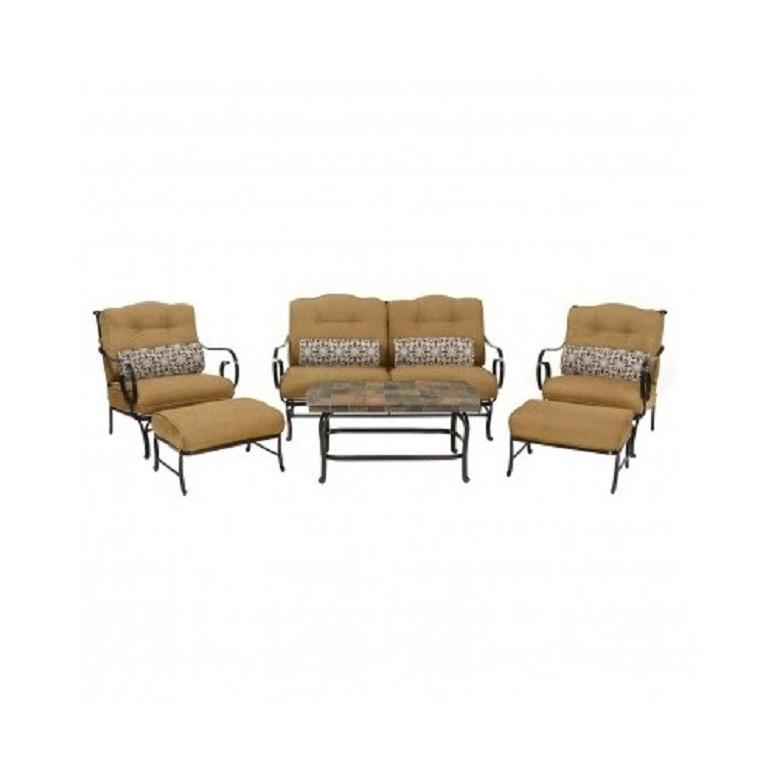 6 Piece Steel Patio Conversation Set Cushion Loveseat Chair Ottoman Coffee Table image 8
