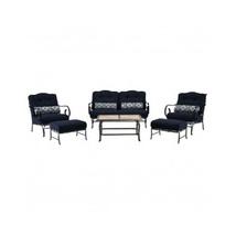 6 Piece Steel Patio Conversation Set Cushion Loveseat Chair Ottoman Coffee Table image 10