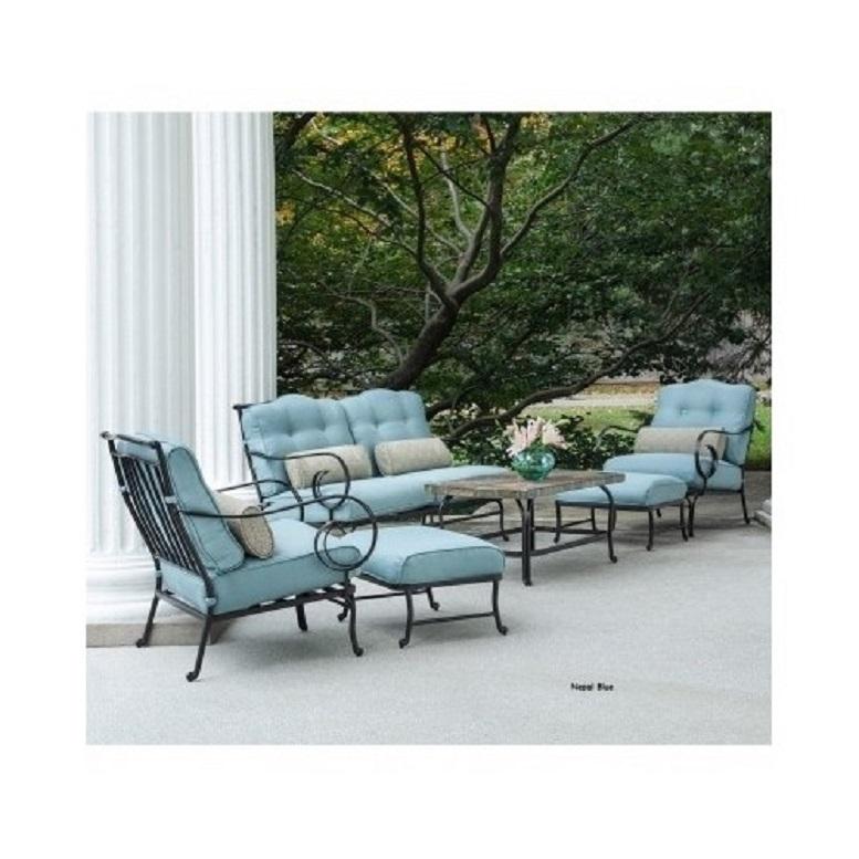 6 Piece Steel Patio Conversation Set Cushion Loveseat Chair Ottoman Coffee Table image 2