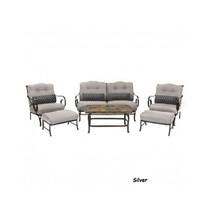 6 Piece Steel Patio Conversation Set Cushion Loveseat Chair Ottoman Coffee Table image 12