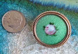 Vintage Handmade OLD Hand Painted Round Metal Brooch Pin - $21.00